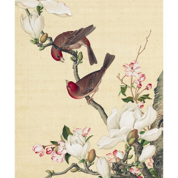 Crab apple and Magnolia blossoms, Giuseppe Castiglione, Qing Dynasty, Immortal Blossoms in an Everlasting Spring, Giclée