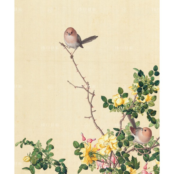 Yellow rose and bleeding heart blossoms, Giuseppe Castiglione, Qing Dynasty, Immortal Blossoms in an Everlasting Spring, Giclée