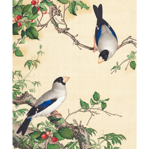 Grosbeaks Perched of a Cherry Tree, Giuseppe Castiglione, Qing Dynasty, Immortal Blossoms in an Everlasting Spring, Giclée