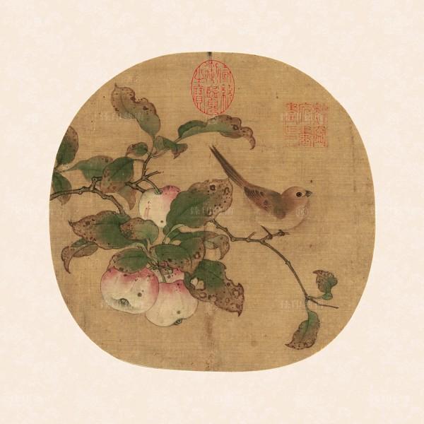 Bird on an Apple Branch, Huang Quan, Five Dynasty, Giclée