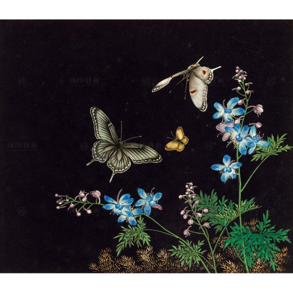 Cats and Butterflies of Longevity, Blossoms and butterflies, Shen Zhenlin, Qing dynasty, Giclée
