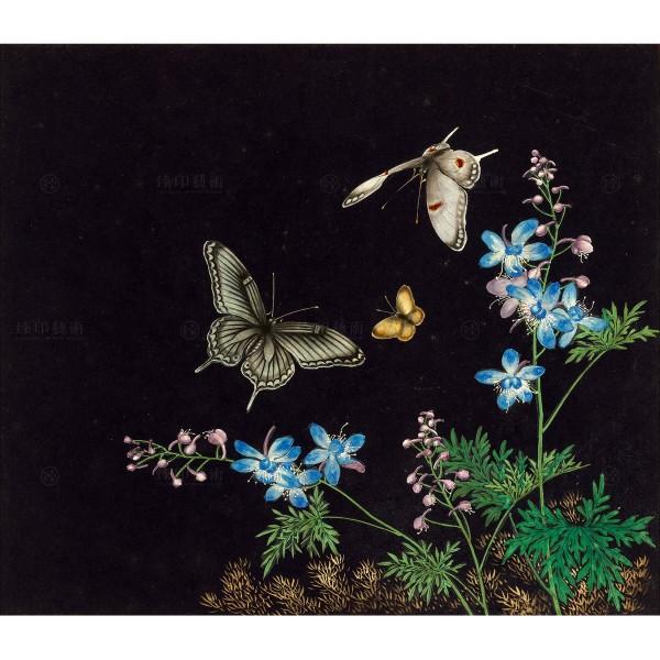 Cats and Butterflies of Longevity, Blossoms and butterflies, Shen Zhenlin, Qing dynasty, Giclée