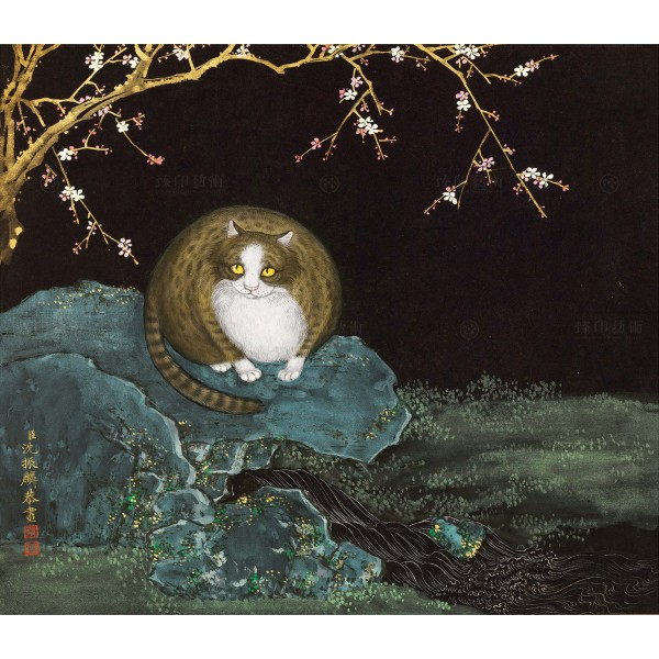 Cats and Butterflies of Longevity, Hongmei and cat, Shen Zhenlin, Qing dynasty, Giclée