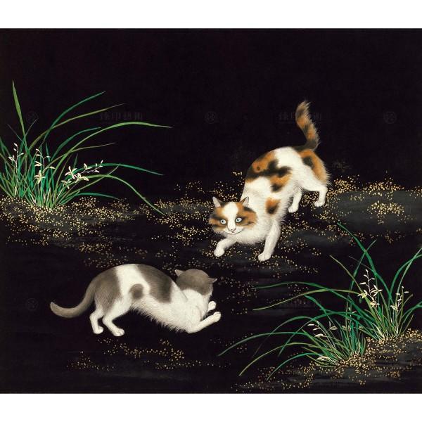 Cats and Butterflies of Longevity, Cymbidium and cat, Shen Zhenlin, Qing dynasty, Giclée
