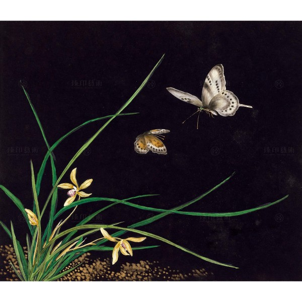 Cats and Butterflies of Longevity, Cymbidium, Shen Zhenlin, Qing dynasty, Giclée