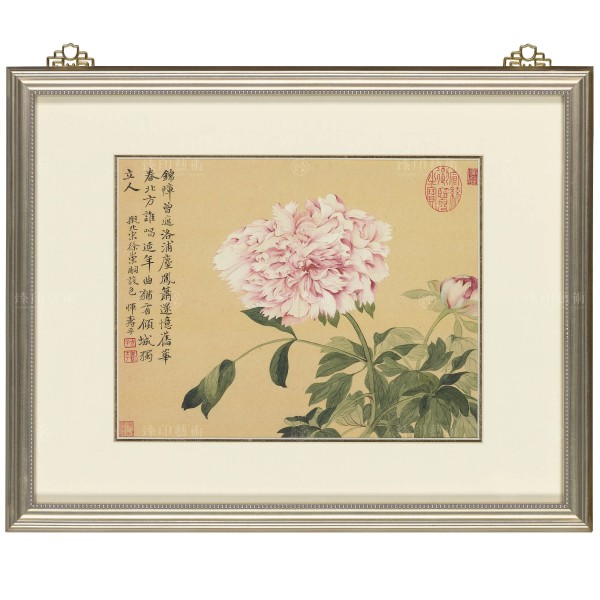 Album of Imitating Antiquity-Peonies, Yun Shou-ping, Qing Dynasty, Frame (Domestic Delivery Only)