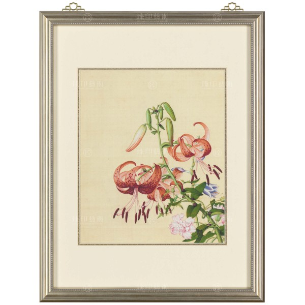 Lily& Peony, Giuseppe Castiglione, Qing Dynasty, Immortal Blossoms in an Everlasting Spring, Frame (Domestic Delivery Only)