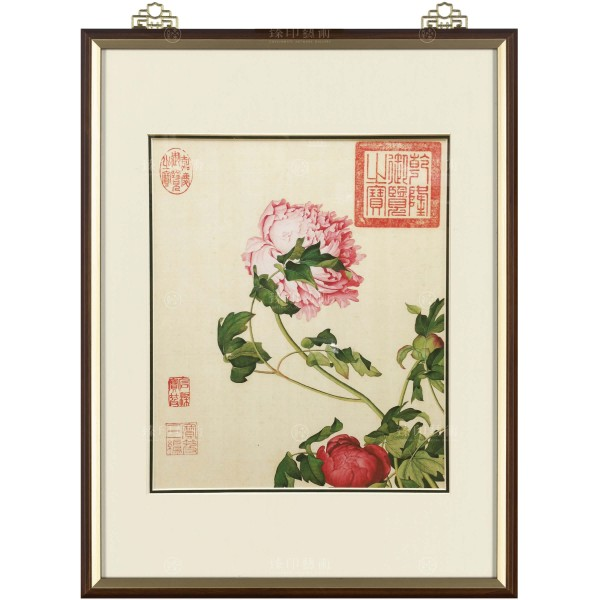 Peonies, Giuseppe Castiglione, Qing Dynasty, Immortal Blossoms in an Everlasting Spring, Frame (Domestic Delivery Only)