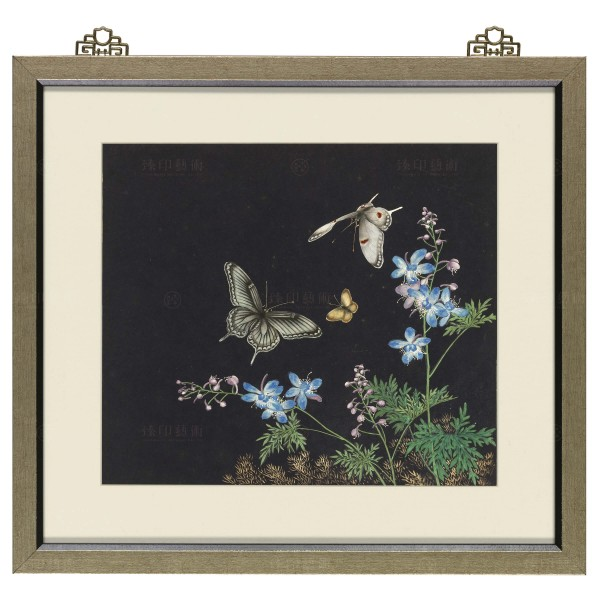 Cats and Butterflies of Longevity, Blossoms and butterflies , Shen Zhenlin, Qing dynasty, Frame (Domestic Delivery Only)