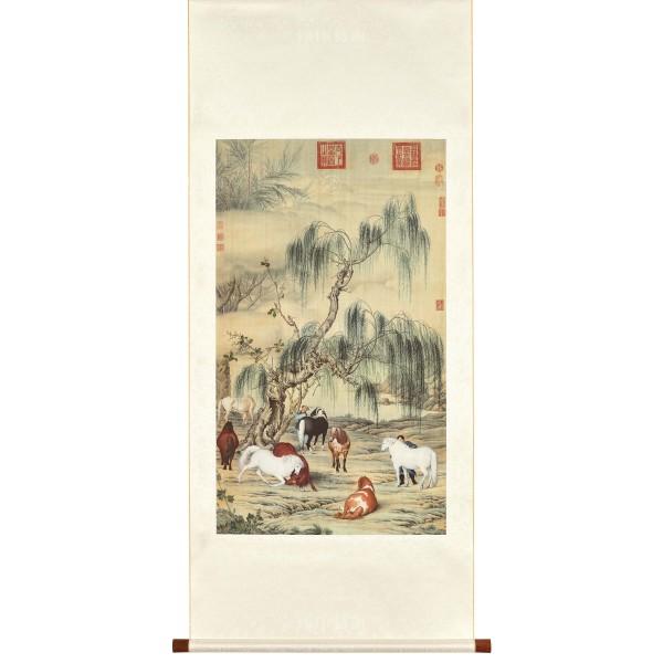Eight Steeds, Giuseppe Castiglione, Qing Dynasty, Scroll (M)