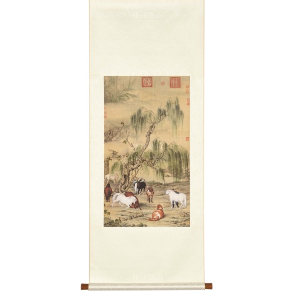 Eight Steeds, Giuseppe Castiglione, Qing Dynasty, Scroll (S)