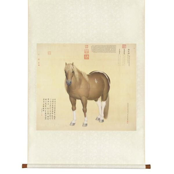 "Ten Steeds (""Snow-Flake Eagle""), Giuseppe Castiglione, Qing Dynasty, Scroll (L)"