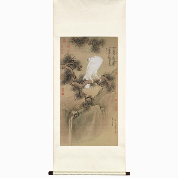 White Falcon, Giuseppe Castiglione, Qing Dynasty, Scroll (M)