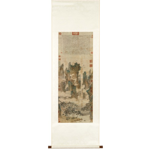 Towers and Pavilions in Mountains of the Immortals, Qiu Ying, Ming Dynasty, Scroll
