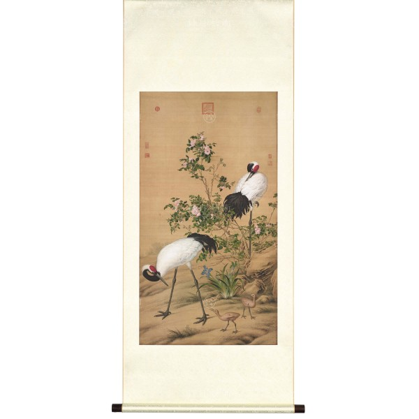 Paired Cranes in the Shade with Flowers, Giuseppe Castiglione, Qing Dynasty, Scroll (M)