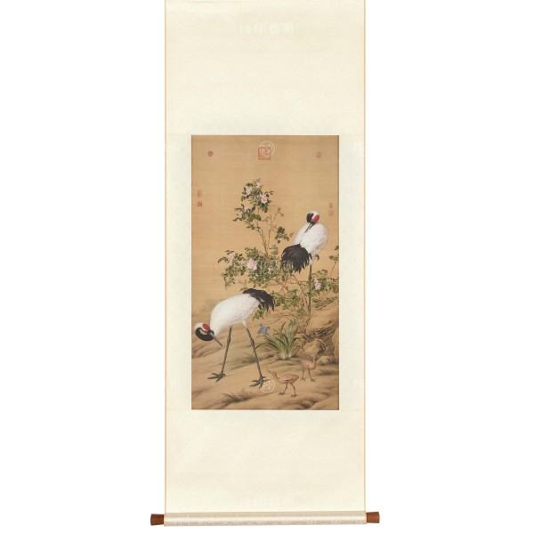 Paired Cranes in the Shade with Flowers, Giuseppe Castiglione, Qing Dynasty, Scroll (S)