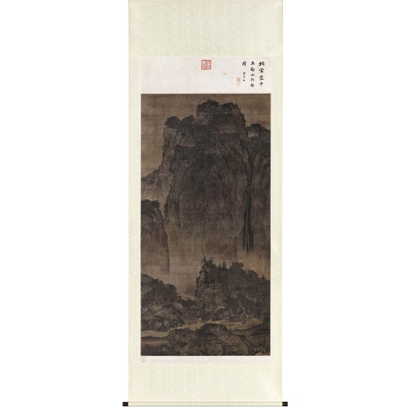 Travelers Among Mountains and Streams, Fan Kuan, Song Dynasty, Scroll (L)