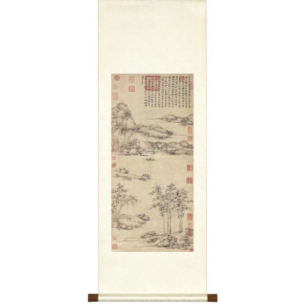 Riverside Pavilion by Mountains, Ni Zan, Yuan Dynasty, Scroll