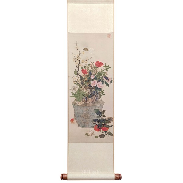 Painting for the New Year, Chen Shu,  Qing Dynasty, Mini Scroll (L)