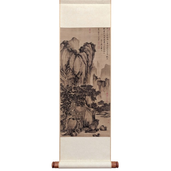 Sound of Pines on a Mountain Path, Tang Yin, Ming Dynasty, Mini Scroll (M)