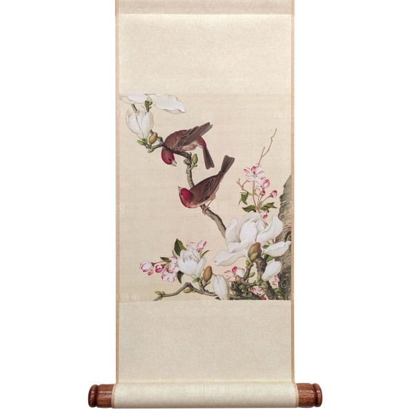 Crab apple and Magnolia blossoms, Giuseppe Castiglione, Qing Dynasty, Immortal Blossoms in an Everlasting Spring, Mini Scroll (S)