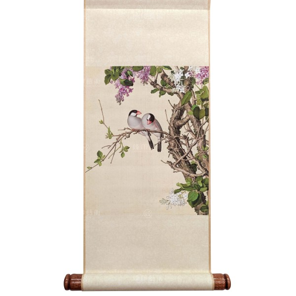 Lilac, Giuseppe Castiglione, Qing Dynasty, Immortal Blossoms in an Everlasting Spring, Mini Scroll (S)