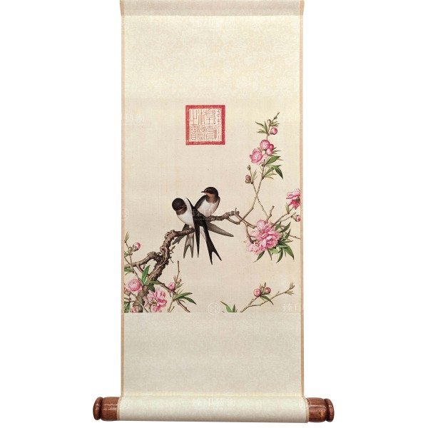 Peach Blossom, Giuseppe Castiglione, Qing Dynasty, Immortal Blossoms in an Everlasting Spring, Mini Scroll (S)