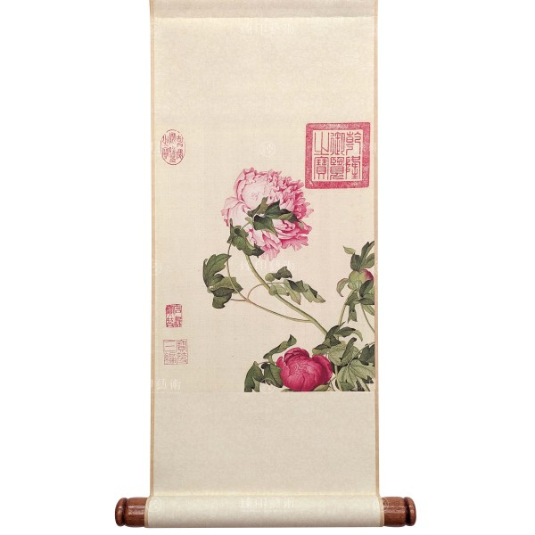 Peonies, Giuseppe Castiglione, Qing Dynasty, Immortal Blossoms in an Everlasting Spring, Mini Scroll (S)