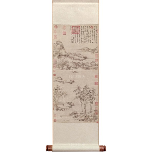 Riverside Pavilion by Mountains, Ni Zan, Yuan Dynasty, Mini Scroll (M)