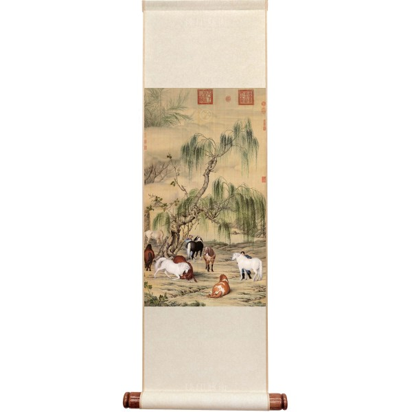 A Portrait of Eight Steeds, Giuseppe Castiglione, Qing Dynasty, Mini Scroll (M)