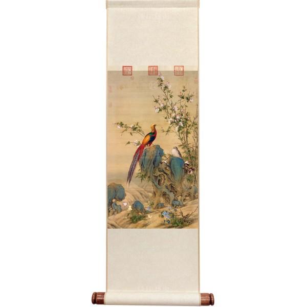 A Brocade of Spring, Giuseppe Castiglione, Qing Dynasty, Mini Scroll (M)