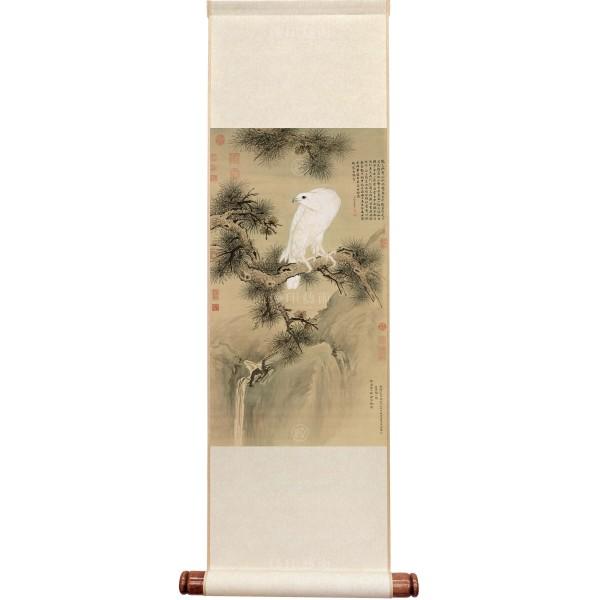 White Falcon, Giuseppe Castiglione, Qing Dynasty, Mini Scroll (M)