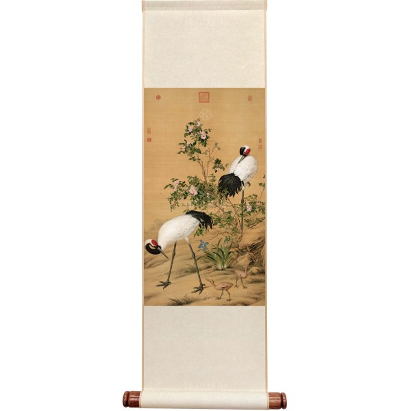 Paired Cranes in the Shade with Flowers, Giuseppe Castiglione, Qing Dynasty, Mini Scroll (M)