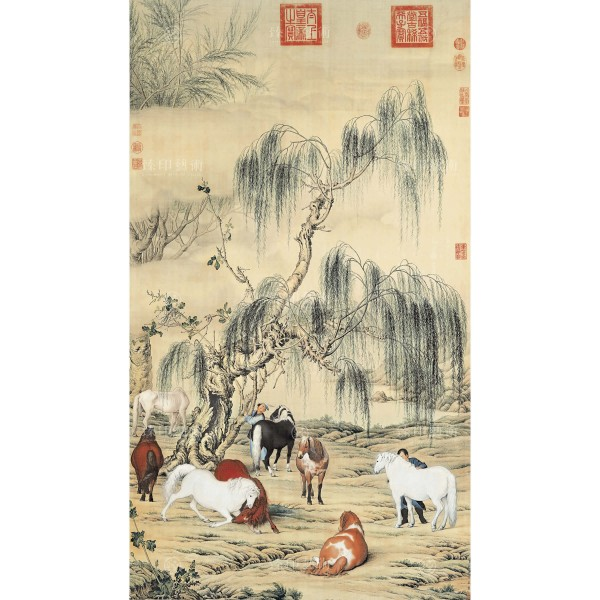 A Portrait of Eight Steeds, Giuseppe Castiglione, Qing Dynasty, Giclée (M)
