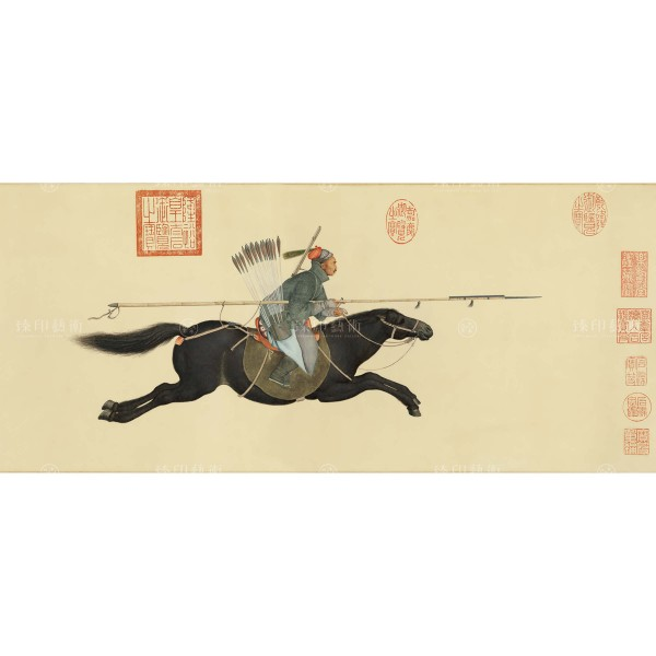 A-yu-hsi Assailing the Rebels with a Lance, Giuseppe Castiglione, Qing Dynasty, Giclée (Partial size)