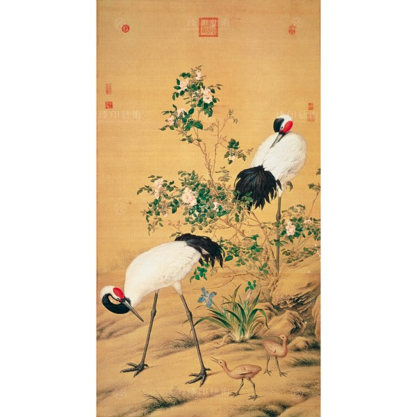 Paired Cranes in the Shade with Flowers, Giuseppe Castiglione, Qing Dynasty, Giclée (M)
