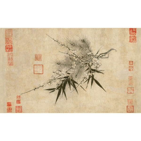 The Three Friends of Winter, Zhao Meng-Chien, Song Dynasty, Giclée