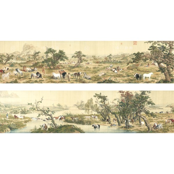 One Hundred Horses, Giuseppe Castiglione, Qing Dynasty, Giclée (L)