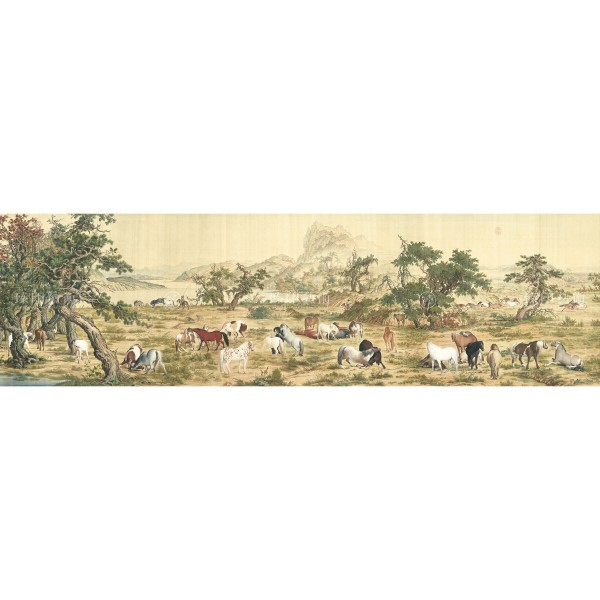 One Hundred Horses, Giuseppe Castiglione, Qing Dynasty, Giclée (Partial size)120N