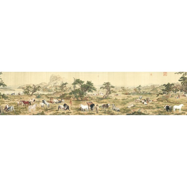 One Hundred Horses, Giuseppe Castiglione, Qing Dynasty, Giclée (Partial size)150N
