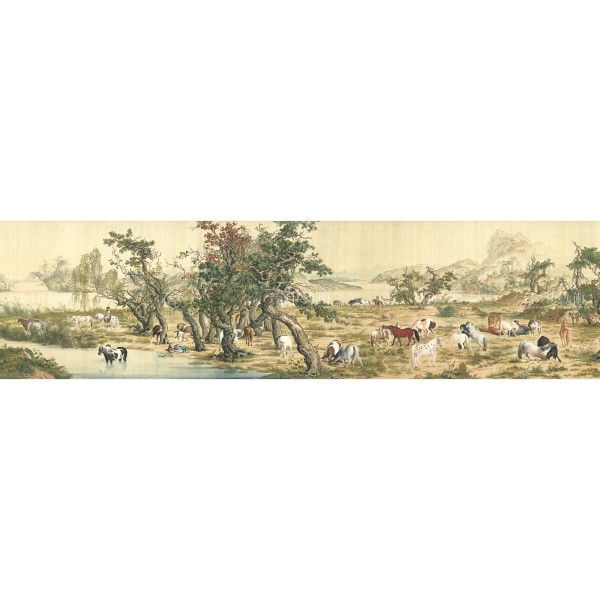 One Hundred Horses, Giuseppe Castiglione, Qing Dynasty, Giclée (Partial size)260N