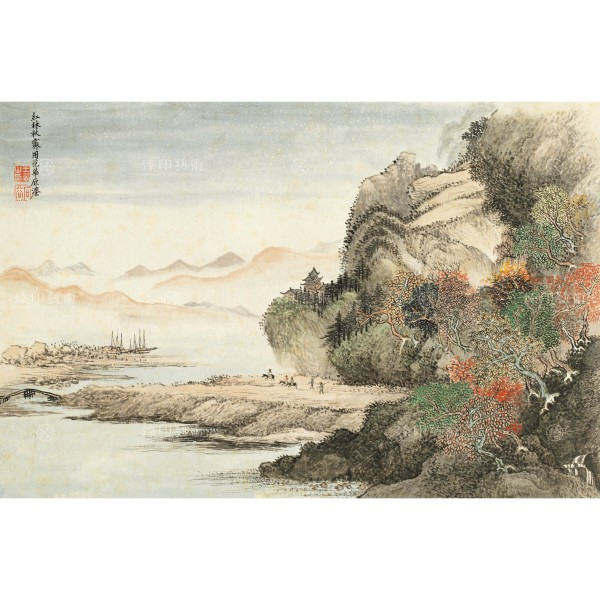 Flowers and Landscape Collection, Volume, An imitation of Fan Kuan's painting style, Yun Shou-Ping, Wang Hui, Qing Dynasty, Giclée