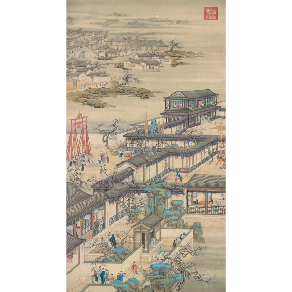 Activities of the Twelve Months (The First Lunar Month), Court artists, Qing Dynasty, Giclée (L)