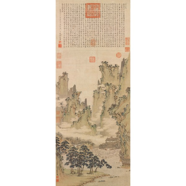 Halls of Immortals Amidst a Cloudy River, Qiu Ying, Ming Dynasty, Giclée