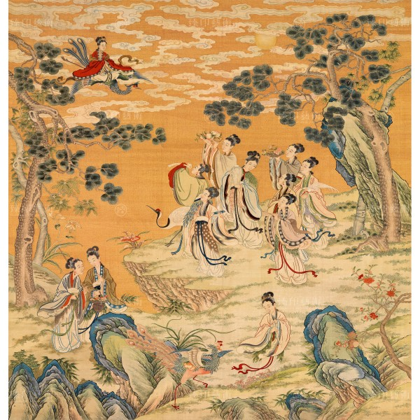 Assembly of Immortals Offering Good Wishes for Long Life, Qing Dynasty, Giclée