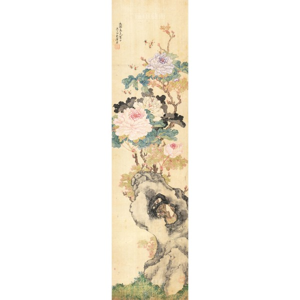 Four Folding Screens of Flowers and Insects-Peony Bee, Ju Lian, Qing Dynasty, Giclée