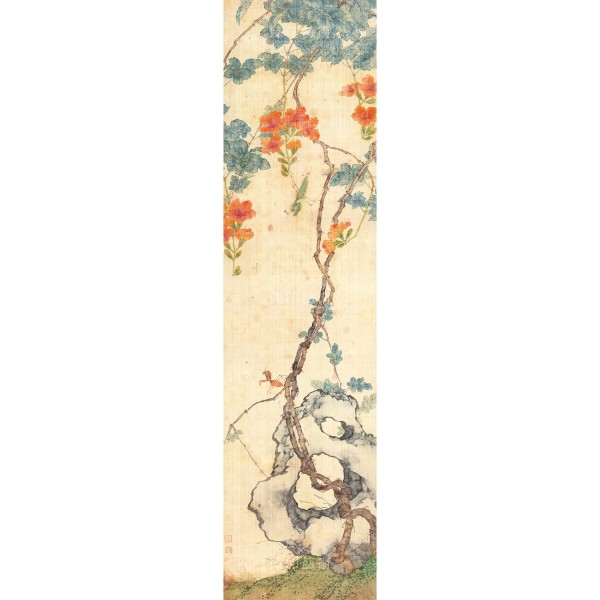 Four Folding Screens of Flowers and Insects-Soaring Mantis, Ju Lian, Qing Dynasty, Giclée