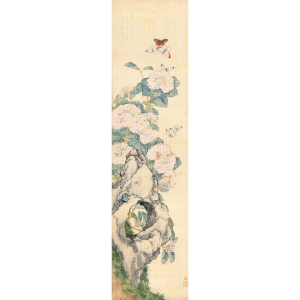 Four Folding Screens of Flowers and Insects-Silk Ball Butterfly, Ju Lian, Qing Dynasty, Giclée