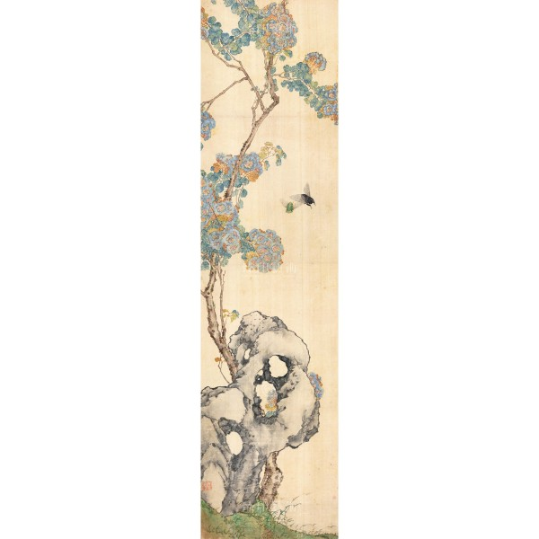 Four Folding Screens of Flowers and Insects-Crape Myrtle Cicada, Ju Lian, Qing Dynasty, Giclée