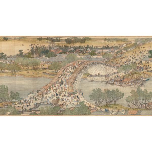 Up the River During Qingming, Qing Court painters, Qing Dynasty, Giclée (Partial size) Hongqiao & Merchant ship